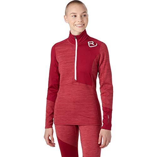 ORTOVOX Womens Fleece Light Zip Neck Jacket, Dark Blood Blend, M