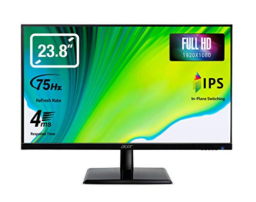 "Acer EK241Ybix Monitor, 23,8"", Display IPS Full HD, 75 Hz, 4 ms, 16:9, VGA, HDMI 1.4, Schermo PC con Contrasto 100M:1, Lum 250 cd/m2, Cavo HDMI Incluso"