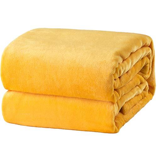 Bedsure fleece deken voor bed en bank geel 150x200cm, super zachte donzige deken voor woonkamer en slaapkamer