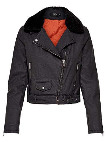 ONLY Damen Lederjacken onlCarol Fur Faux schwarz W 38