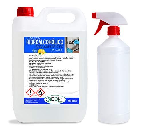 Desinfectante de superficies hidroalcohólico CON ESENCIA LIMÓN | Ecosoluciones Químicas ECO-902L | 5 litros | Uso profesional | Incluye pulverizador