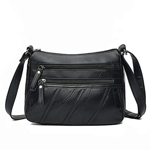 T-ara The New Women Messenger Bag Lady Shoulder Crossbody Bag Humble Distaff pu Leather Handbag Black Flap Purse Essential for hiking (Color : Black, Size : 25x11x20cm)
