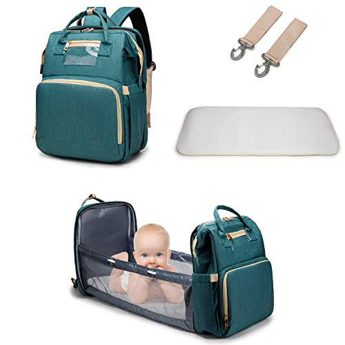3 in 1 Diaper Bag Backpack with Changing Station, Travel Bassinet Foldable Baby Bed Mummy Bag, Large Capacity, Waterproof