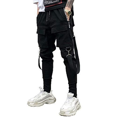Tomatoa Herren Cargohose Jogginghose Streetwear Hosen Chino Sweatpants Freizeit Lang Hosen Sporthose Outdoorhose Traininghose mit Taschen S - 2XL (T-Schwarz, S)