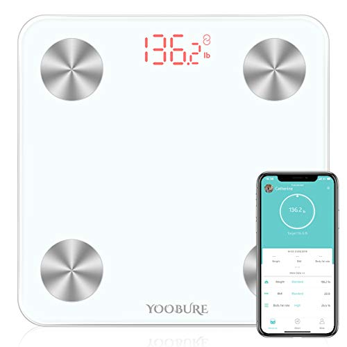 Bluetooth Body Fat Scale, Smart Digital Bathroom Weight Scale with Tempered Glass Platform, Body Composition Analyzer Health Monitor Fat, BMI, BMR,...