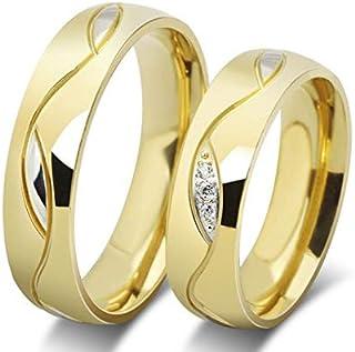 دبل رجالي نسائي هدية الزواج مطلي بذهب18 مع حبات كريستال صنع من التيتانيوم cr17 مقاس خاتم الرجل:8 مقاس خاتم النساء:7
