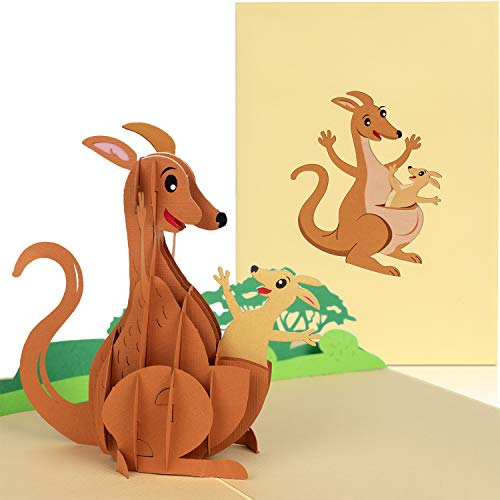 PaperCrush Pop-Up Card Kangaroo [NEW!] - Funny 3D Mother's Day Card, Greeting Card for Birth or Mother's Day, Gift Idea for Australia Travel or Backpacker, Handmade Birthday Card
