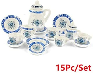 EatingBiting(R) 1:12 Dollhouse Miniature Furniture Dining Ware Ceramic Blue Flower 15Pcs Set Chinese Blue and White Cerami...