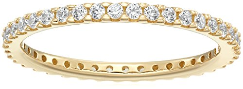 Yellow-Gold-Plated Sterling Silver All-Around Band Ring set with Round Swarovski Zirconia (1/2 cttw), Size 6