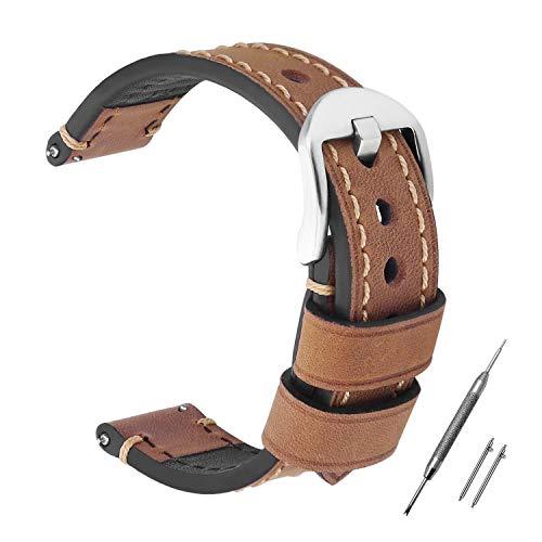 Correa Reloj 24mm HOMPO Reemplazo de Reloj de Cuero Genuino Correa Vintage Reloj Banda para Hombres Mujeres
