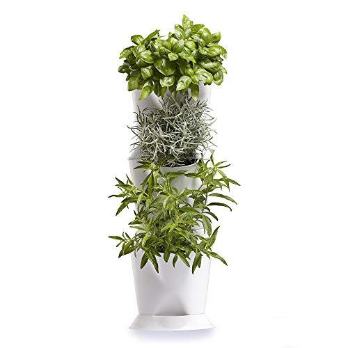 Minigarden Corner 1 Set für 3 Pflanzen, Eckgärten für Zuhause, freistehend am Boden aufstellbar oder zur Wandmontage, innovatives Abflusssystem (Weiß)