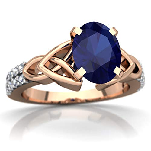 glowspectrajewels Celtic Knot Valentine Day Engagement Ring 0.99 CTW Oval Cut Sapphire & White CZ Diamonds 14K Rose Gold Fn (10)
