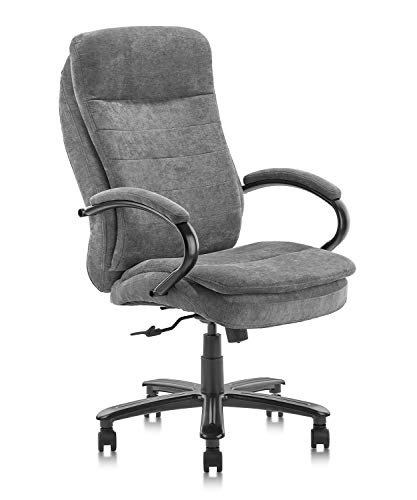 CLATINA Ergonomic Big & Tall Executive Office Chair with Fabric Upholstery 400lbs High Capacity Swivel Adjustable Height Thick Padding Headrest and Armrest for Home Office Gray 1 Pack