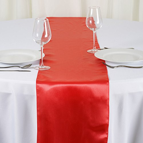 BalsaCircle 10 pcs 12 x 108-Inch Coral Satin Table Top Runners - Wedding Party Event Reception Occasions Linens Decorations