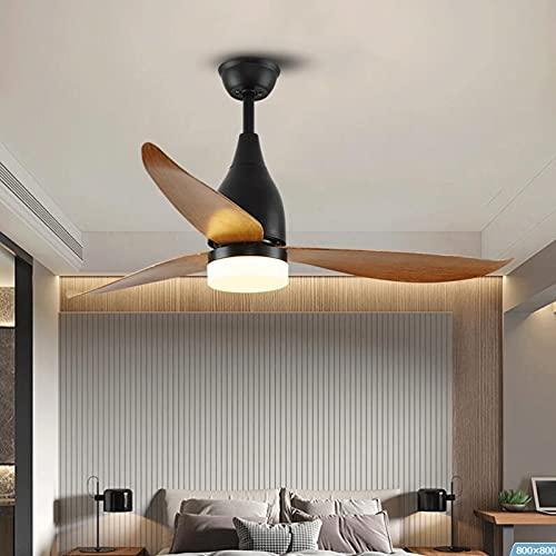 Luz del ventilador Luz De Ventilador Silencioso, 52 Pulgadas 3 Cuchillas De Ventilador, Control Remoto Ajustable 3-velocidad Velocidad Del Viento Techo Techo Dimmable Luz De Tiempo 4 Equi(Color:Negro)