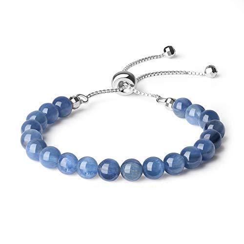 coai Geschenkideen Damen 925 Sterling Silber Glücksarmband Slider Bracelet aus Disthen/Kyanit in Jeder Gewünschten Größe
