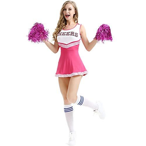Raymonj Uniforme in Costume da Cheerleader con Costume Sportivo Musicale High School di Pom Poms Costume da Donna Cosplay per Ragazze