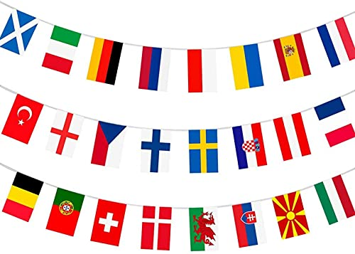 NOWAYTOSTART European Football Championship EURO 2021 Fabric Bunting, All 24 Participating Teams Flags Bunting for Garden, Bar, Restaurant and Party Decoration 14x21cm (2 Pack)