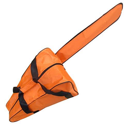 Funda de Transporte Motosierra Tela Oxford Impermeable Universal Soporte de Almacenamiento Motosierra para Motosierra Stihl & Husqvarna de 12/14/16 Pulgadas (Orange)