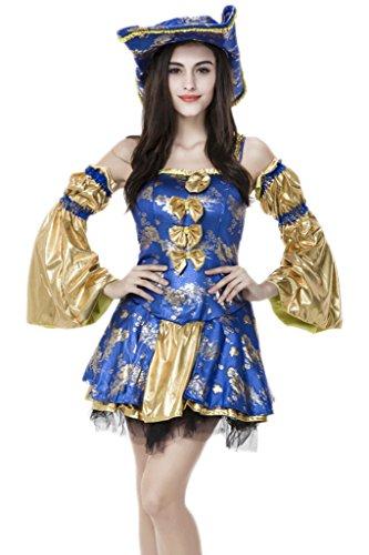 Bigood Femme Déguisement Cosplay Pirate Princesse Costume Halloween Partie, Bleu, Asiatique L Tour de Poitrine:88-96cm