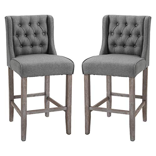 HOMCOM 40' Tufted Wingback Counter Height Armless Bar Stool Dining Chair Set of 2, Grey