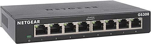 NETGEAR (GS308) Switch Ethernet 8 Ports RJ45 Métal Gigabit (10/100/1000), switch RJ45, silencieux, positionnement sur un bureau ou au mur pour une Connectivité Simple, Idéal à domicile ou au bureau