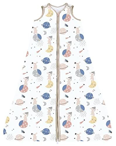 Chilsuessy Schlafsack Baby 2.5 Tog Winterschlafsack Babyschlafsack aus reine Baumwolle Winter Schlafanzug ohne Ärmel 70-130cm für Neugeborene und Kinder, Kaninchen Planet, 130cm/Baby Höhe 120-140cm