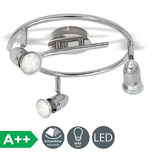 B.K.Licht - Lámpara de techo con 3 Focos LED GU10, focos ajustables y...