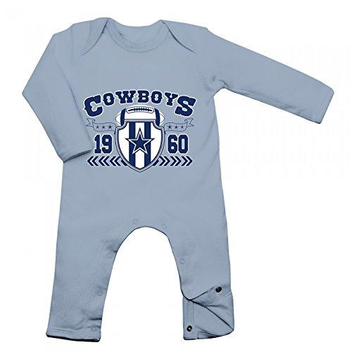 Shirt Happenz Cowboys Babybody 1960 Super Bowl American Football Langarm Langärmliger Strampler, Farbe:Babyblau (Dusty Blue BZ13);Größe:3-6 Monate