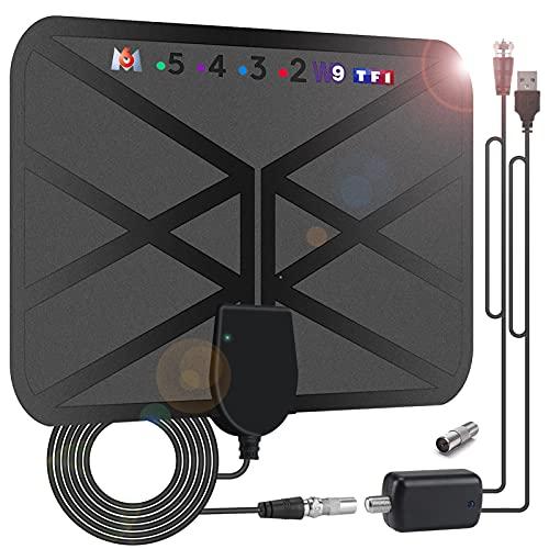 36DBI Antenne TV Intérieur Puissante, 200 km d'autonomie Antenne TNT Intérieure Signal Amplificateur Booster avec 4.2m câble coaxial-VHF/UHF/FM, Soutenir TV HD