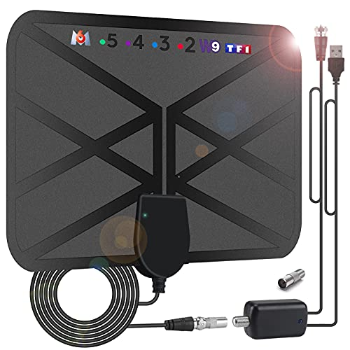 Antena TV Interior 36DBI, 200 km Antena HDTV Digitalcon Amplificador 4.2m Cable Coaxial, para Canales de TV 1080P 4K VHF UHF TDT Gratuitos para DVB-T DVB-T2