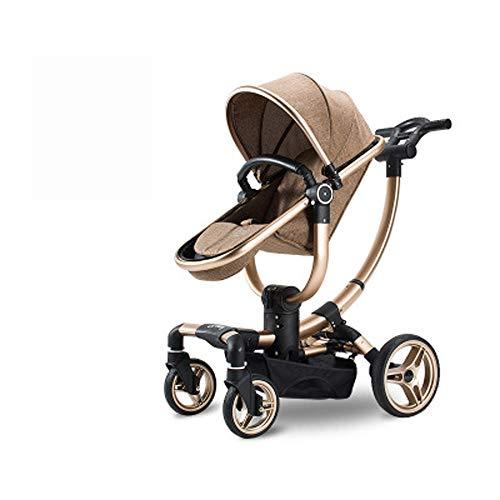 TINGYIN Folding Passeggino - ruotabile di 360 ° a 90 ° bidirezionale in Pelle Tenda Paesaggio di Alta bracciolo di Alluminio di Aeronautica Pram 0-3 Anni Newborn