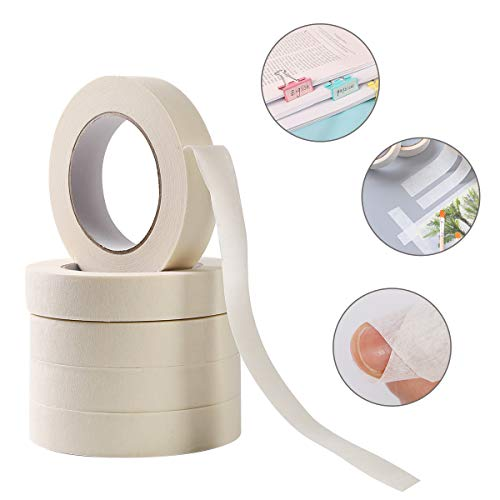 SKEMIX White Masking Tape,12 Pack Wide Purpose Masking Tape for Labeling,for Painting, Home, Office, School Stationery, Arts, Crafts etc. 1 Inch Wide, 60 Yard/Roll Photo #2
