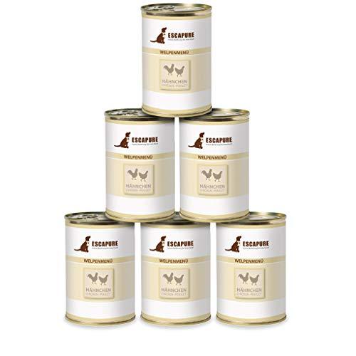 Escapure Hunde Nassfutter Dosen - Welpe | Hähnchen in Premium Qualität | mit Karotte, Zucchini, Banane und Flohsamenschalen | ohne Zusatzstoffe und frei von Getreide | 6x400g