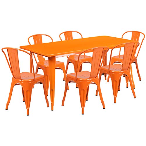 Flash Furniture 31.5'' x 63'' Rectangular Orange Metal Indoor-Outdoor Table Set with 6 Stack Chairs