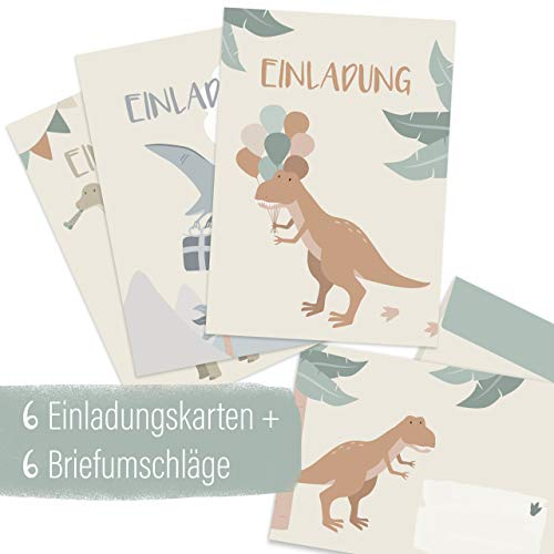 mintkind® Einladungskarten Set zum Kindergeburtstag für Jungen – Geburtstags-Einladung für Kinder im Dinosaurier Design | 6 Karten mit 3 Motiven + 6 passende Umschläge