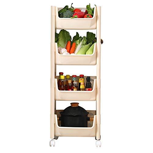 KCCCC Carretilla de Almacenamiento Trolley Utility Carri 4-Tier Verduras de Almacenamiento en Rack de Almacenamiento rodante Carro de la Cocina for el baño Sala Mobile Organize Shelf