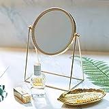 PuTwo Miroir Maquillage Simple Face Miroir de Table en Métal Miroir Vintage 360 Degrés de Rotation Miroir Rond Miroir Rotatif Idéal Pour Salle de Bain Rasage Chambre Coiffeuse - Or Champagne