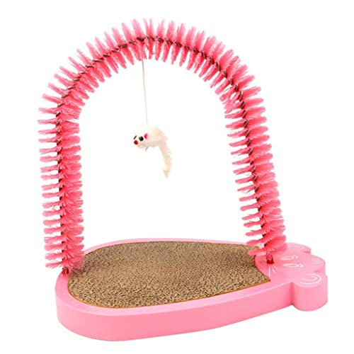 PETSOLA Enthaarungsbogen Katze Fellpflegebogen Massagebogen Katzenbogen mit Bürste und Kratzbrett - Rosa