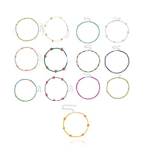 Boho Beaded Necklace,Beaded Choker Necklaces,Rice Beads Flower Necklace,Daisy Flower Boho Colorful Beaded Choker,Women Bohemian Necklaces Seed Bead (13 pcs)