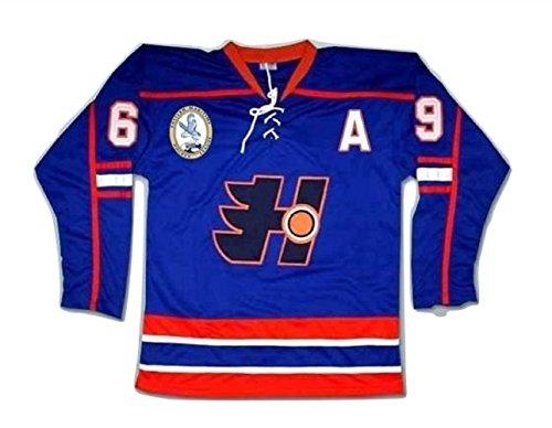 borizcustoms Doug Glatt Halifax Hockey Jersey Includes EMHL and A Patches Stitch (56) Blue