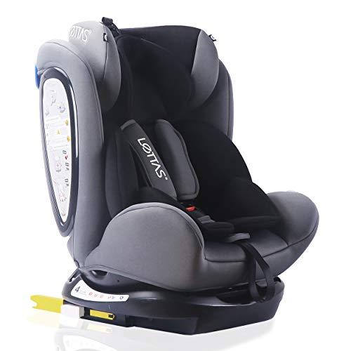 LETTAS Kinder Autositze Sitzschale Baby autositz 0+1/2/3 (0-36 kg) mit Protektoren seitliche Isofix ECE R44/04 (906_Schwarz)