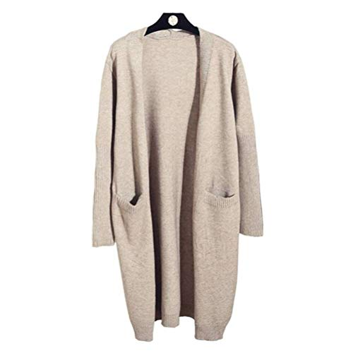 Dames pullover en pullover lente en herfst lente lange pullover vrouwen gebreide jas lange mouwen pullover mantel Koreaanse stijl losse lente en herfst, Justtime Eén maat beige