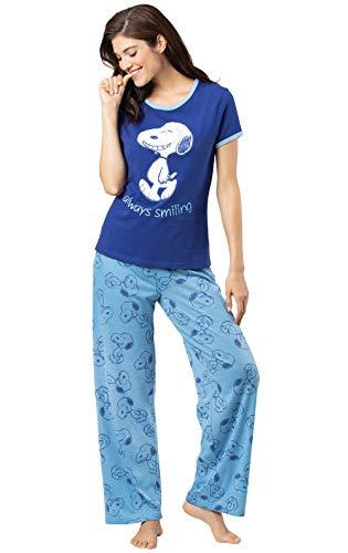 PajamaGram Cute Pajamas for Women - Fun Pajamas for Women, Snoopy Blue, L, 12-14