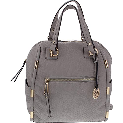 Jessica Simpson Womens Phoebe Leather Snake Backpack Gray Medium