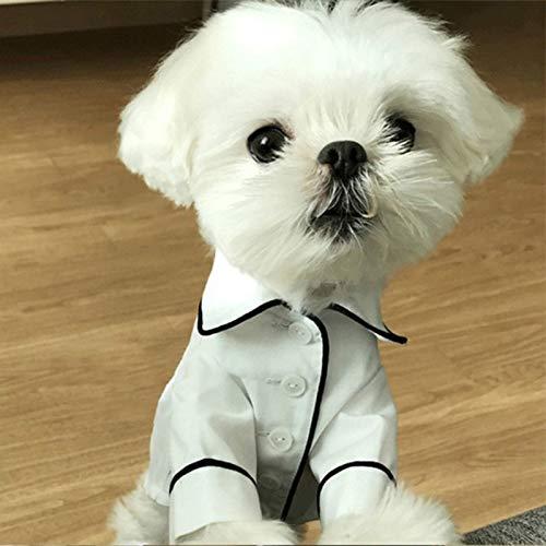 45532rr Puppy Overall Pyjamas Overalls weicher Baumwolle Jumpsuit Puppy Puppy Nette Simulierte Silk Pyjamas Outfit Haustier-Katze-Welpen, Größe: XL (Pink) (Color : White)