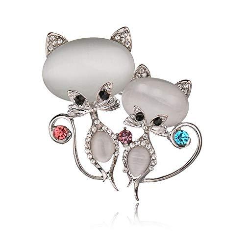 Ludage Exquisito Broches para Ropa Mujer Hebilla de Cristal Color Diamante Broche Gato Moda tórax Ramillete de aleación de joyería Animal pequeño de Ropa
