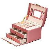 ADEL DREAM Joyero con 3 niveles y 2 cajones con espejo, para anillos, pendientes, collares y pulseras (rosa)