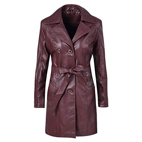Klassische solide Damenjacke mit Revers-Gürtel, winddicht, warmer Innenflor aus Kunstleder