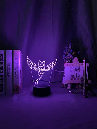 Lámpara De Ilusión 3D Luz De Noche LED Ren'S Fairy Cock Cat Happy Fly Figurita Ation Dormitorio Decoración De La Cabecera Regalos De Cumpleaños Para Niños Para Niños